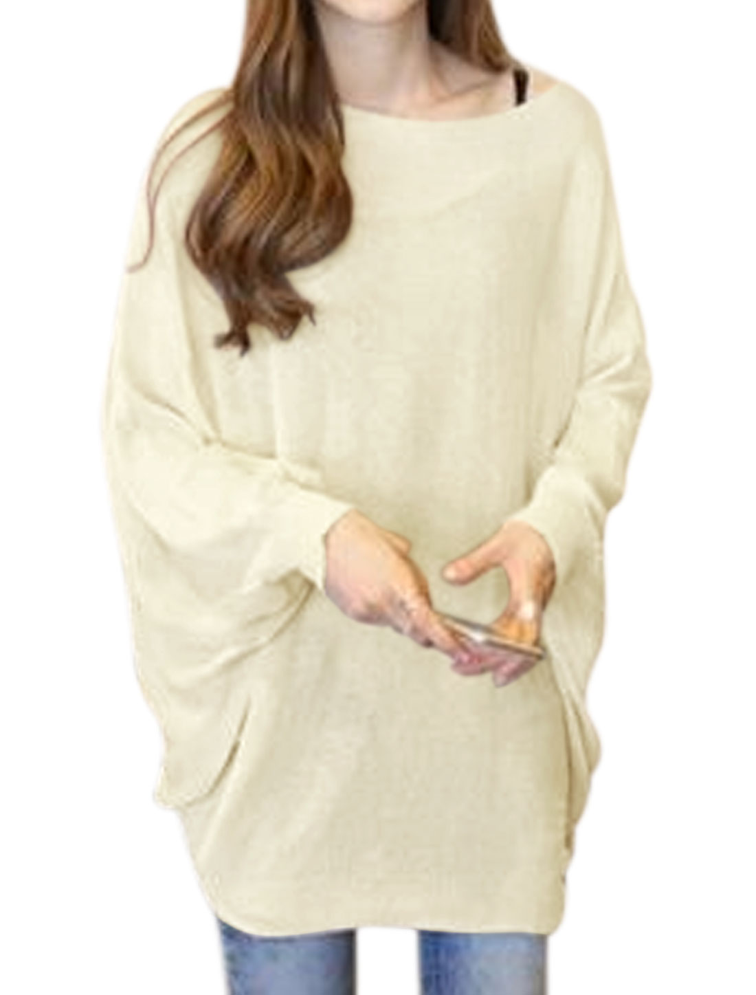 Women Boat Neck Batwing Sleeves Knit Loose Tunic Blouse White XS