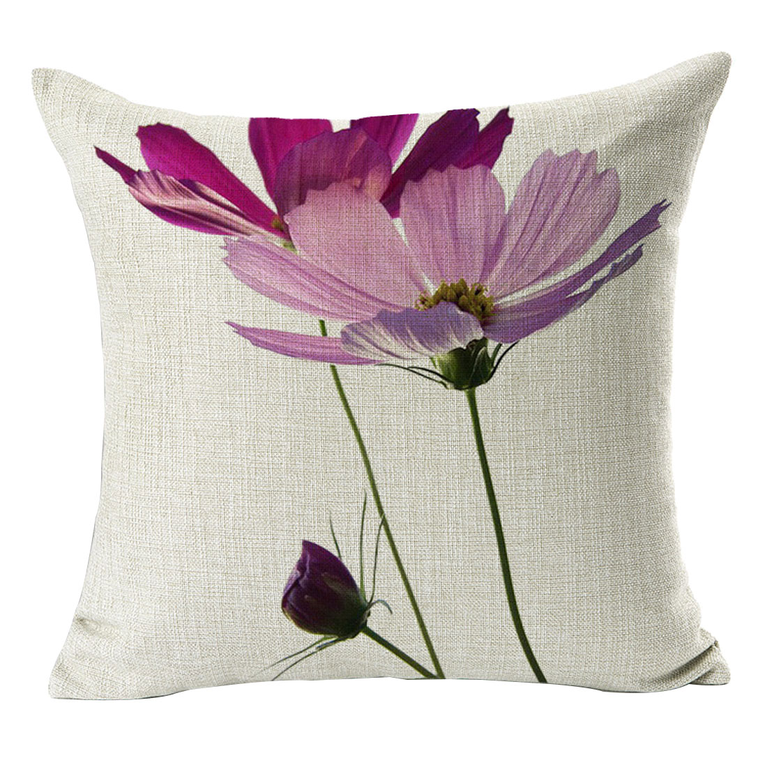 Home Sofa Cotton Linen Flower Pattern Square Design Waist Throw Cushion Pillow Cover