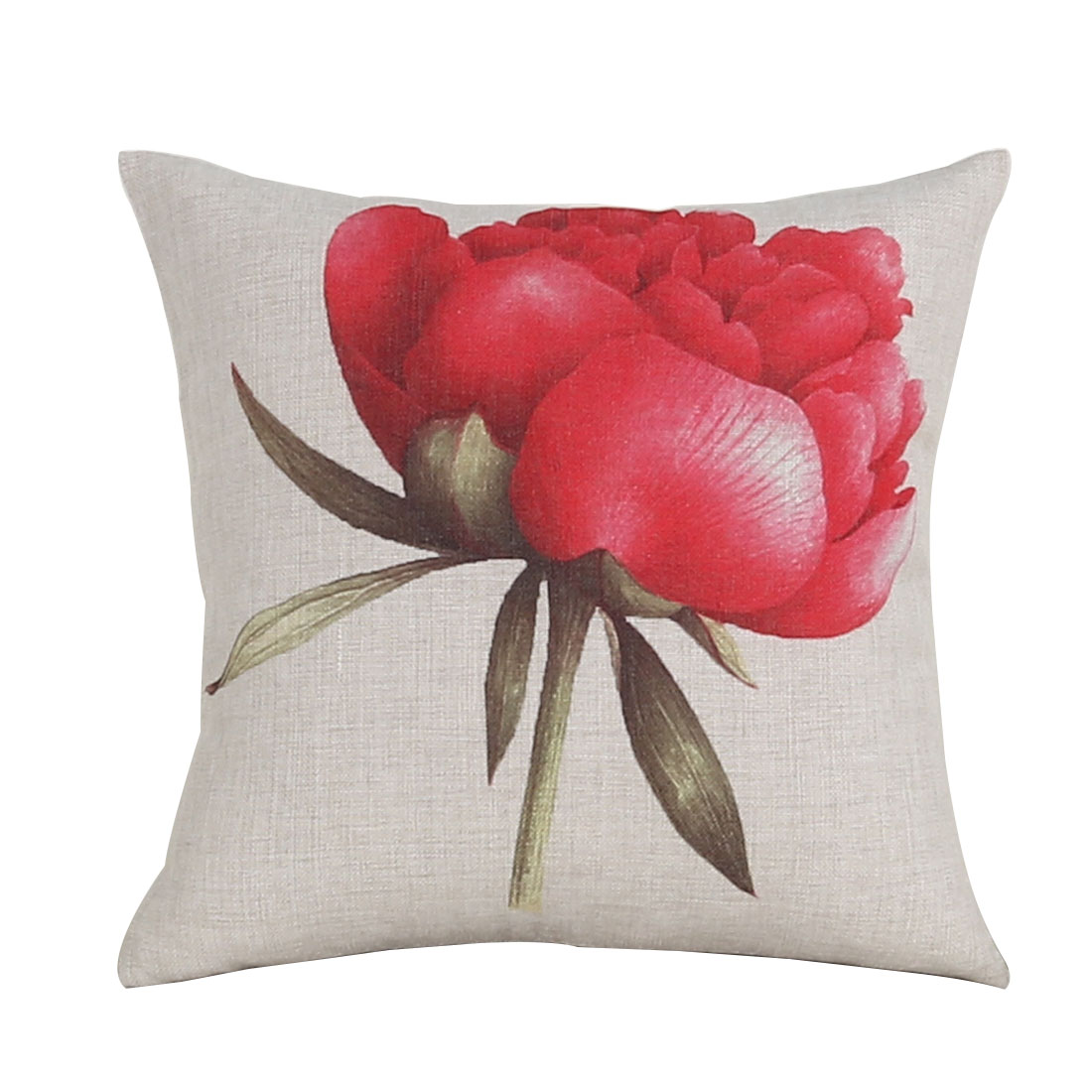 Household Sofa Cotton Linen Rose Pattern Waist Throw Cushion Cover Pillow Case