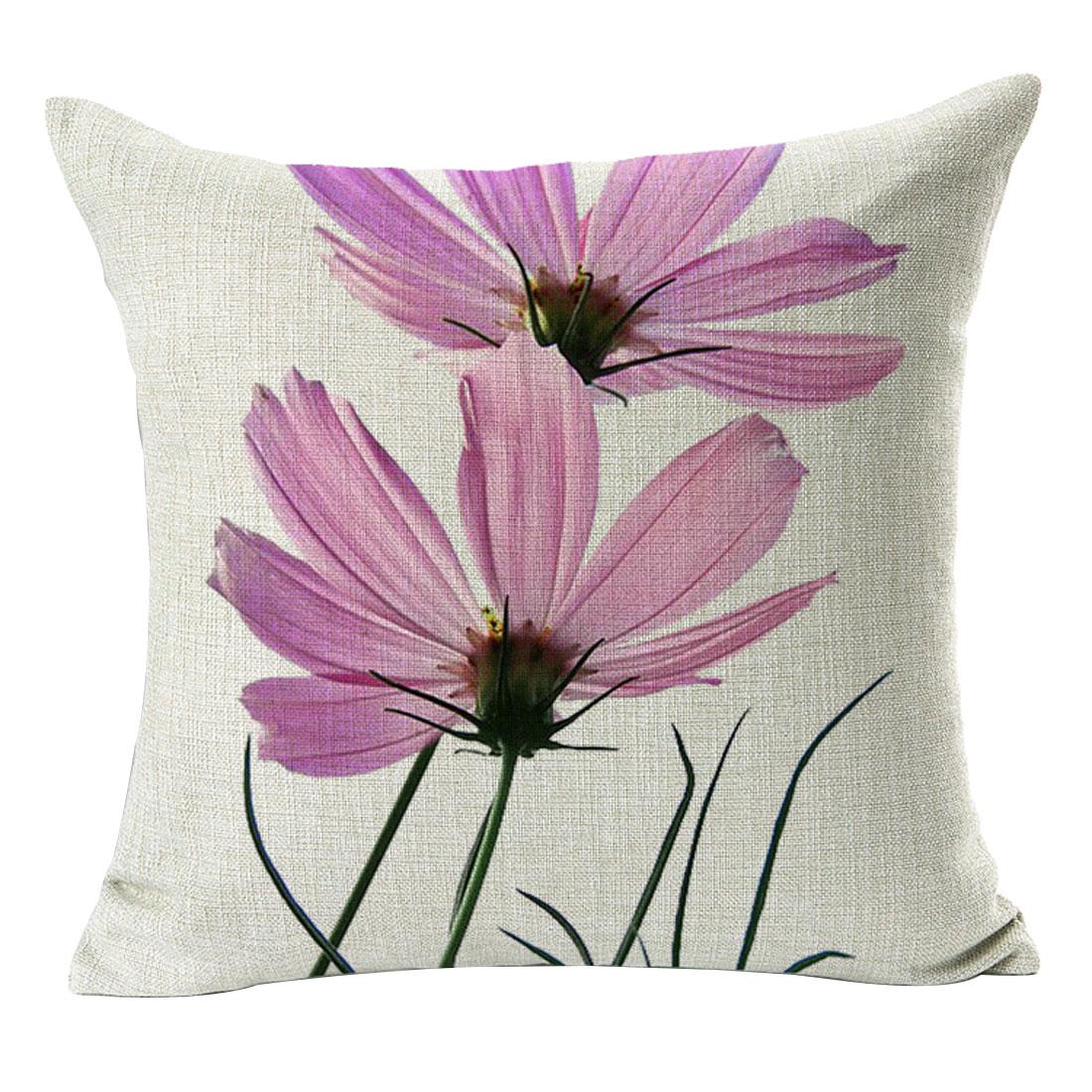 Sofa Cotton Linen Flower Pattern Square Design Waist Throw Pillowcase Pillow Cover