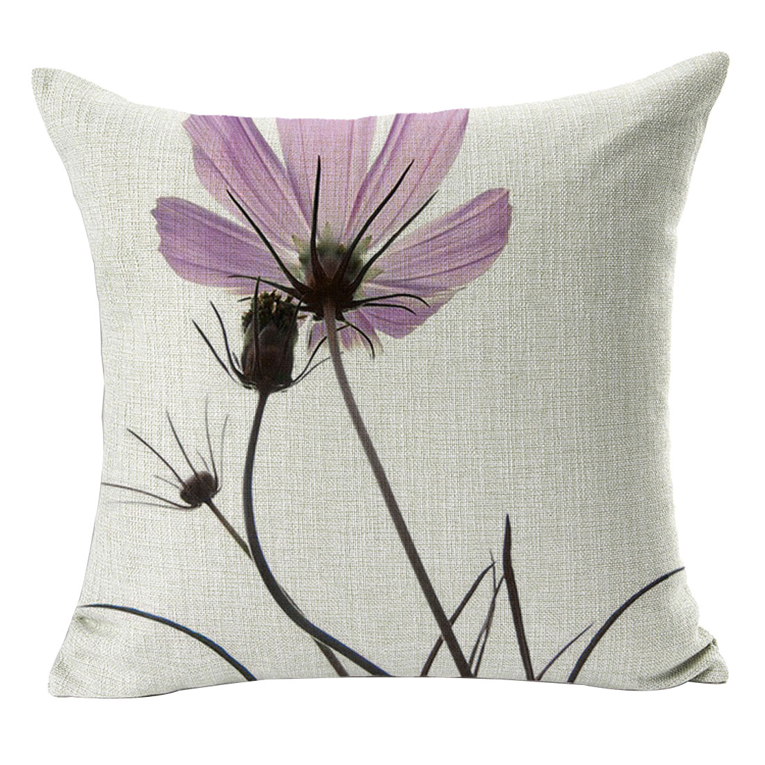 Home Office Sofa Cotton Linen Flower Pattern Square Design Cushion Pillow Cover