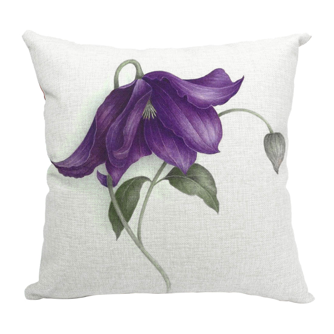Home Sofa Cotton Linen Hosta Pattern Waist Throw Cushion Cover Pillow Case