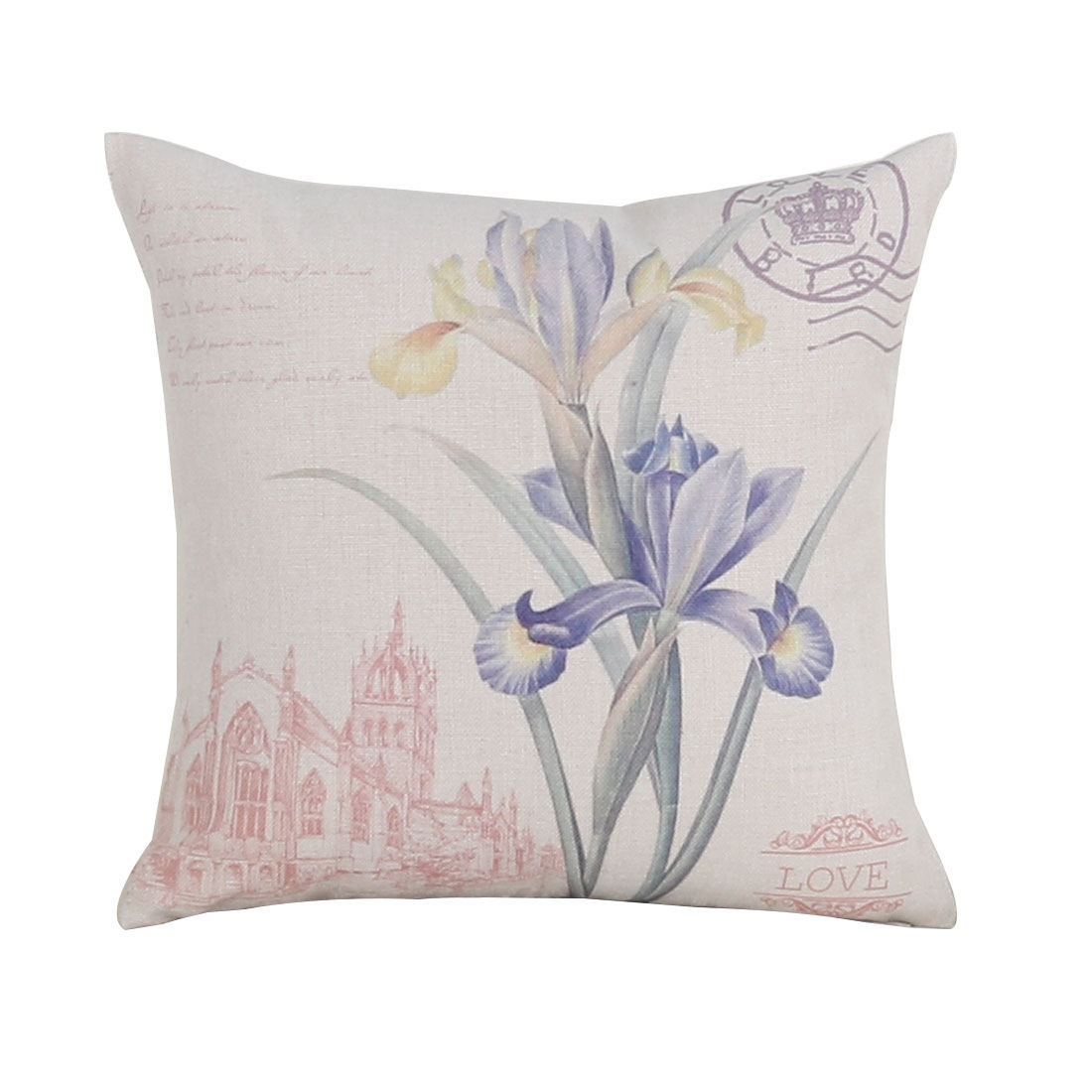 Sofa Couch Cotton Linen Flower-de-luce Pattern Waist Throw Cushion Cover Pillow Case