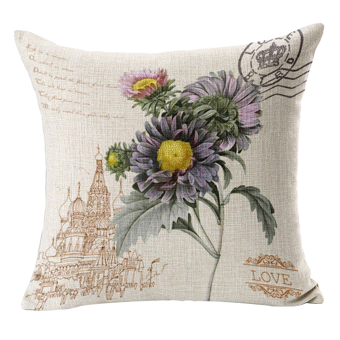 Sofa Couch Cotton Linen Chrysanthemum Pattern Waist Throw Cushion Cover Pillow Case