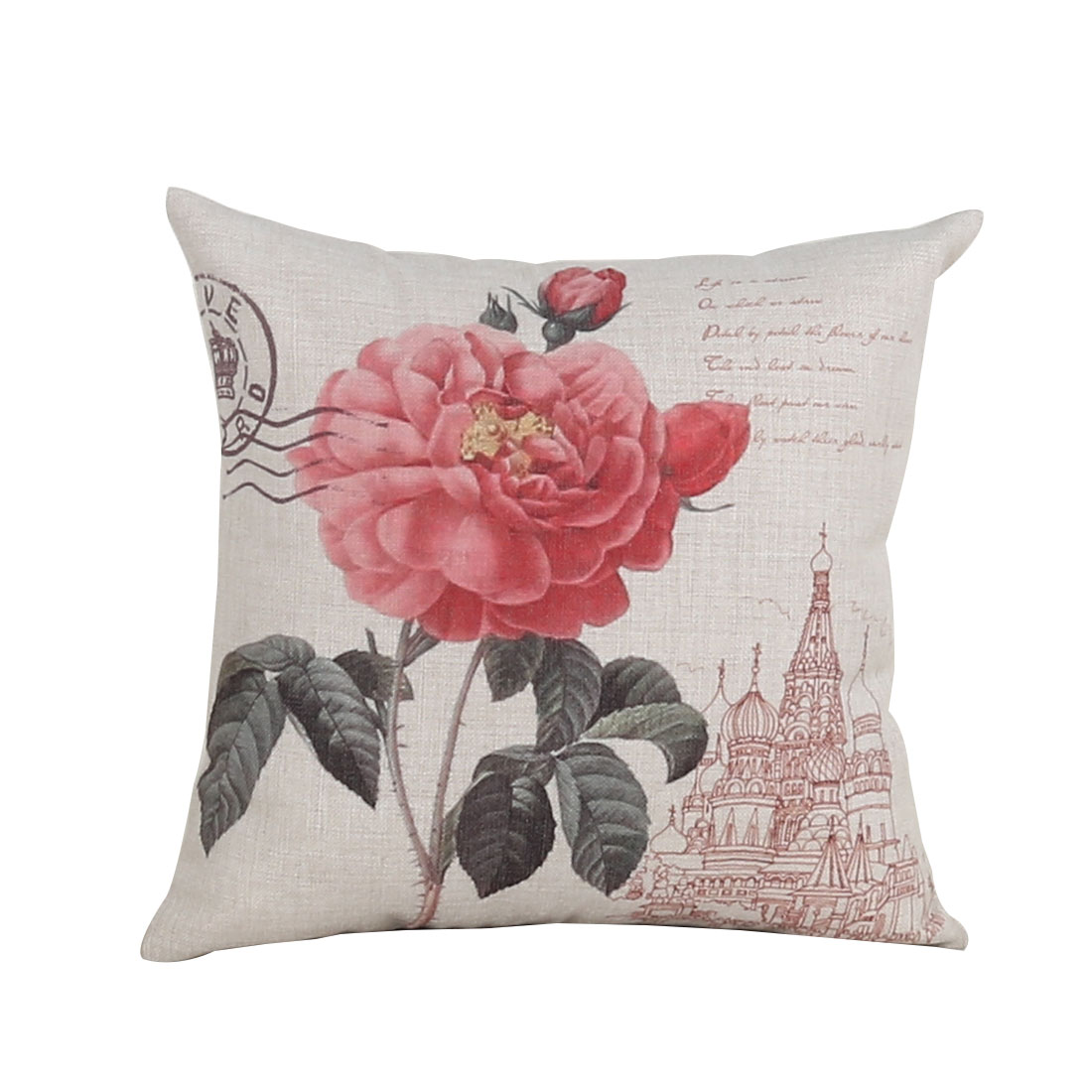 Sofa Couch Cotton Linen Red China Rose Pattern Waist Throw Cushion Cover Pillow Case