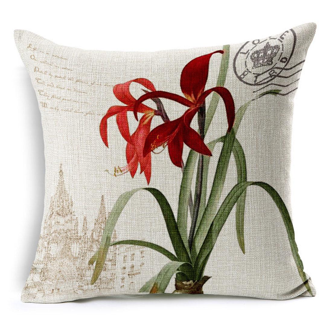 Household Sofa Couch Cotton Linen Hosta Pattern Waist Throw Cushion Cover Pillow Case