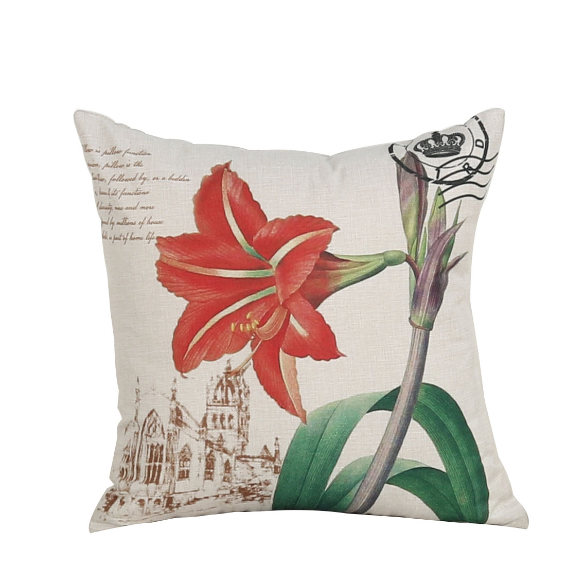 Sofa Couch Cotton Linen Barbadoslily Pattern Waist Throw Cushion Cover Pillow Case