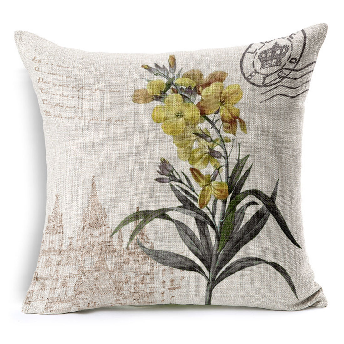 Household Sofa Couch Cotton Linen Jonquil Pattern Waist Throw Cushion Cover Pillow Case