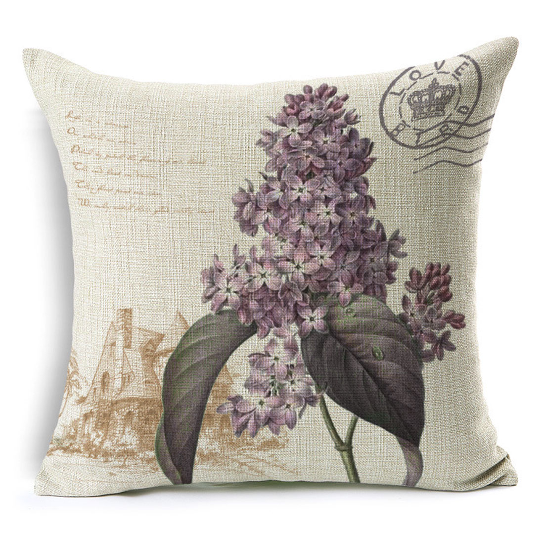 Household Sofa Couch Cotton Linen Hyacinth Pattern Waist Throw Cushion Cover Pillow Case