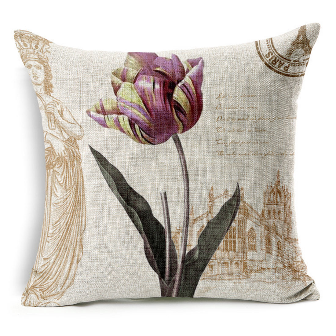 Household Sofa Couch Cotton Linen Tulip Pattern Waist Throw Cushion Cover Pillow Case
