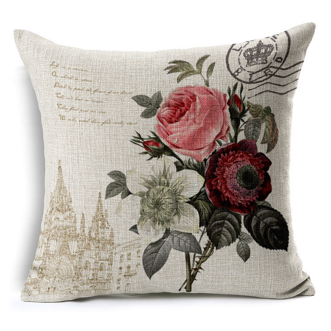 Household Sofa Couch Cotton Linen Rose Pattern Waist Throw Cushion Cover Pillow Case