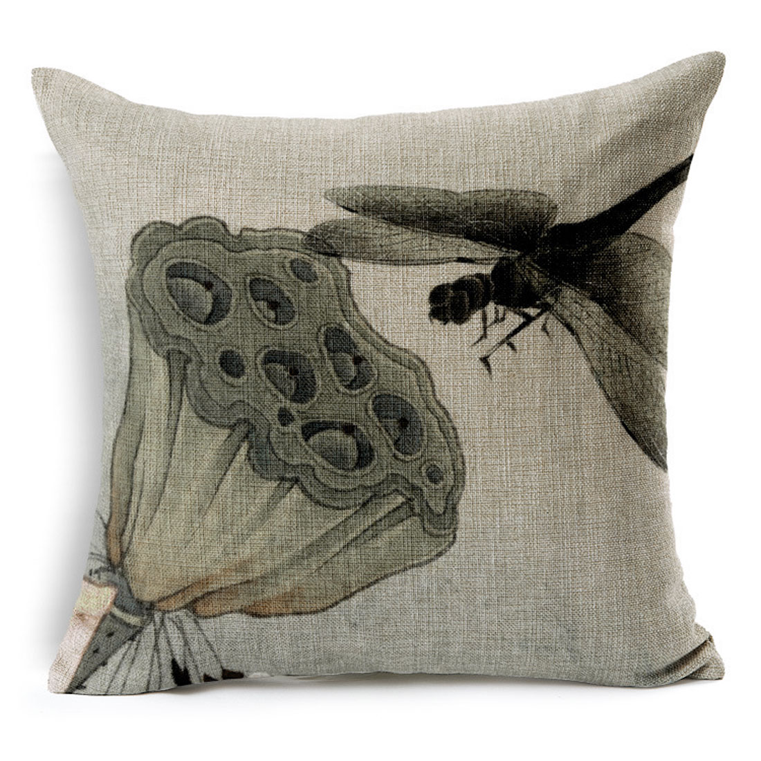 Home Sofa Cotton Linen Lotus Root Pattern Chinoiserie Waist Throw Cushion Pillow Cover