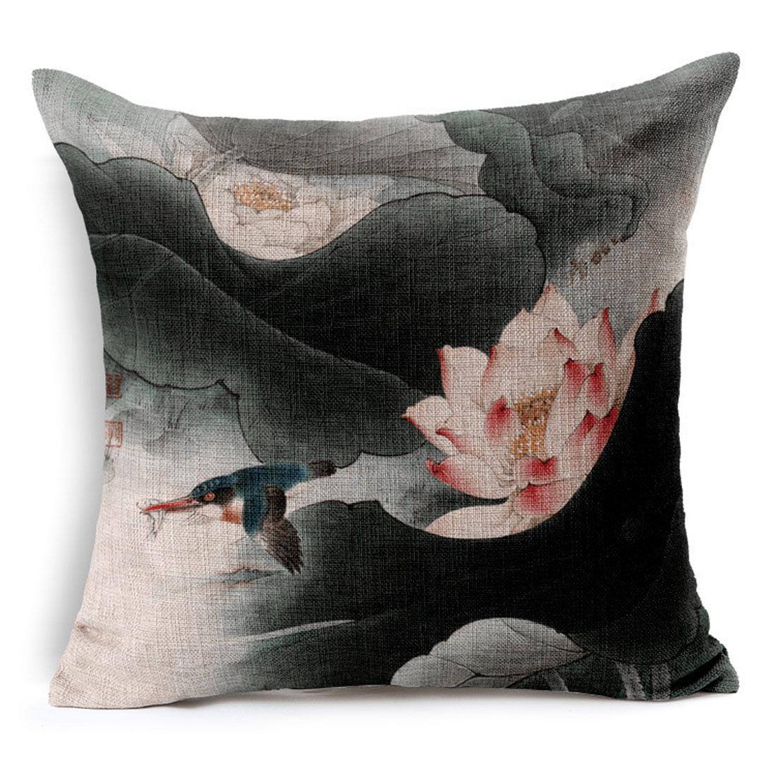 Sofa Cotton Linen Lotus Bird Pattern Chinoiserie Waist Throw Cushion Pillow Cover