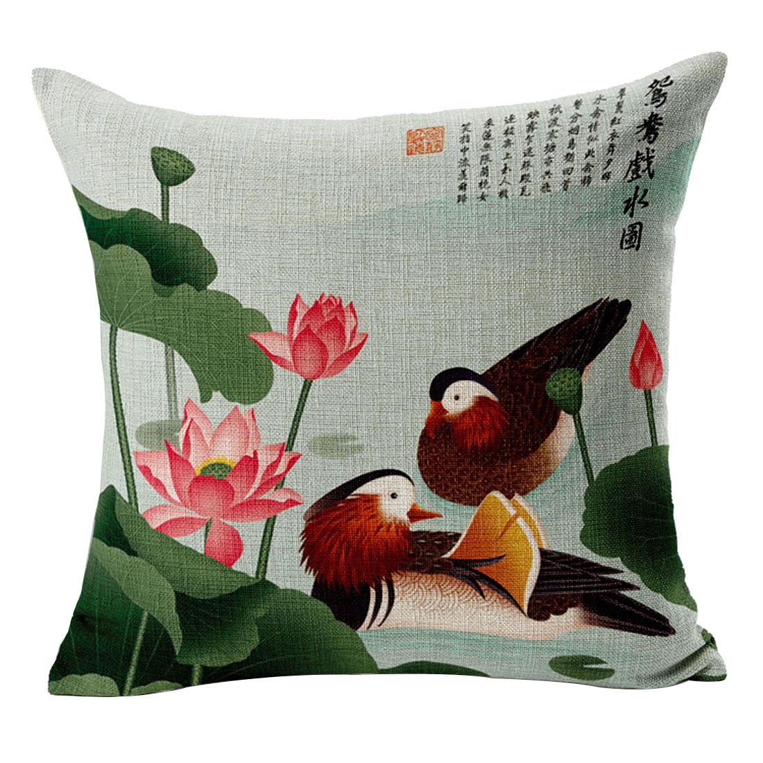 Sofa Cotton Linen Lotus Mandarin Duck Pattern Waist Throw Cushion Cover Pillow Case