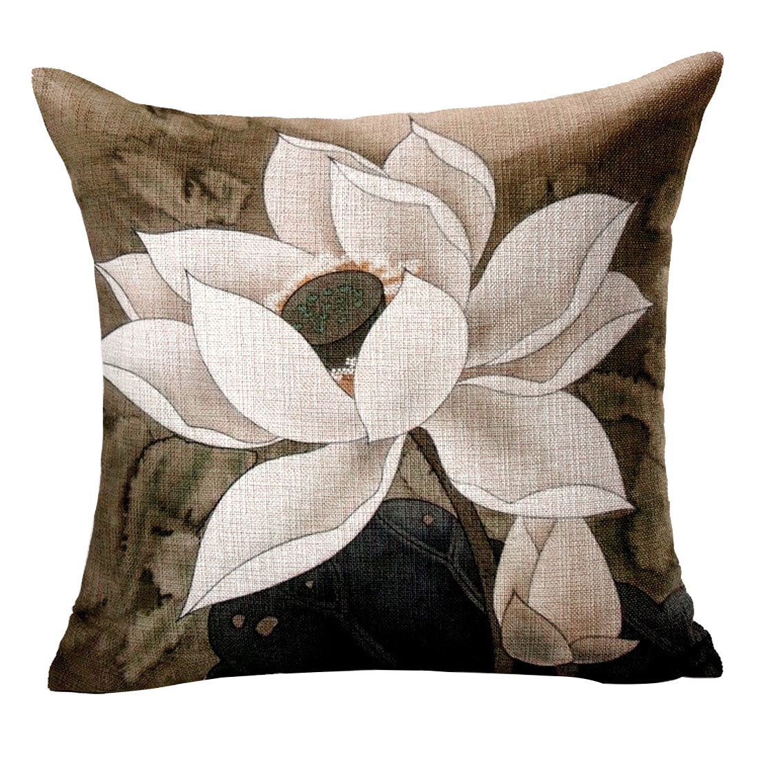 Household Sofa Cotton Linen Lotus Pattern Chinoiserie Waist Back Cushion Pillow Cover