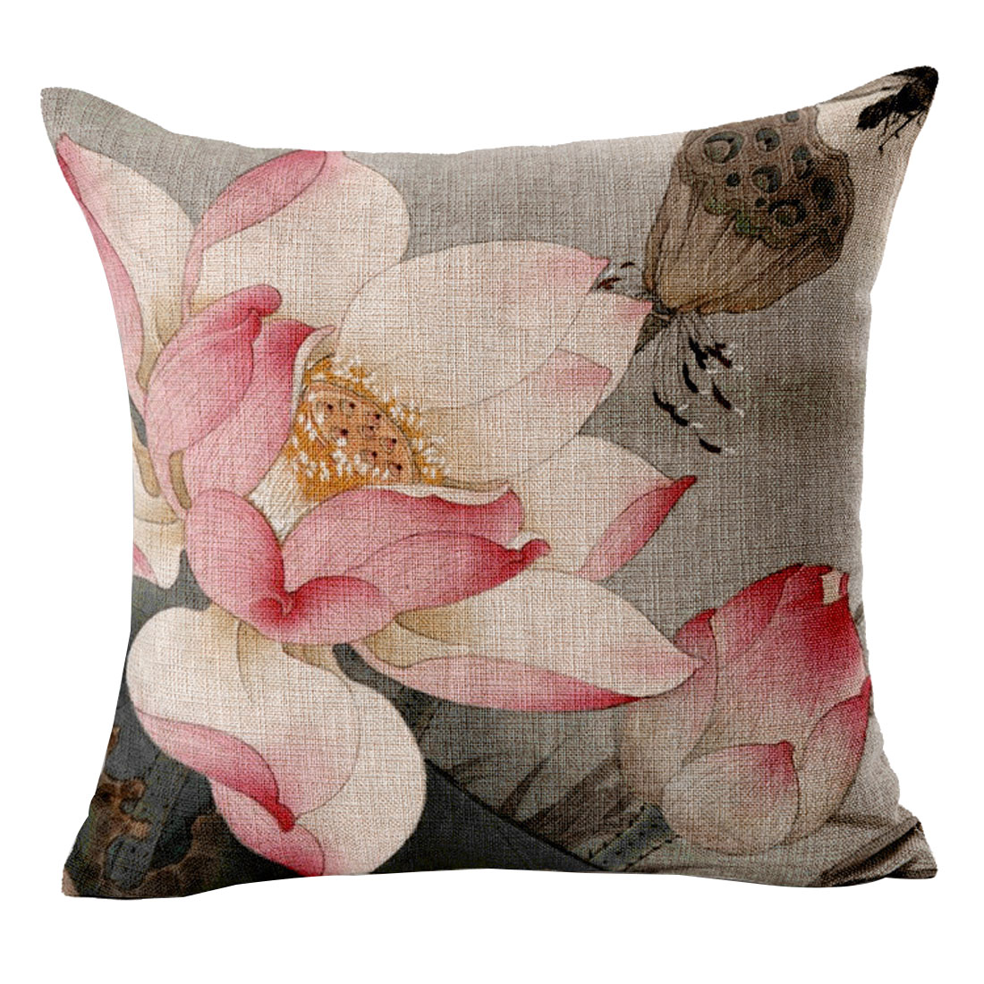 Sofa Car Seat Cotton Linen Lotus Pattern Chinoiserie Waist Throw Cushion Pillow Cover