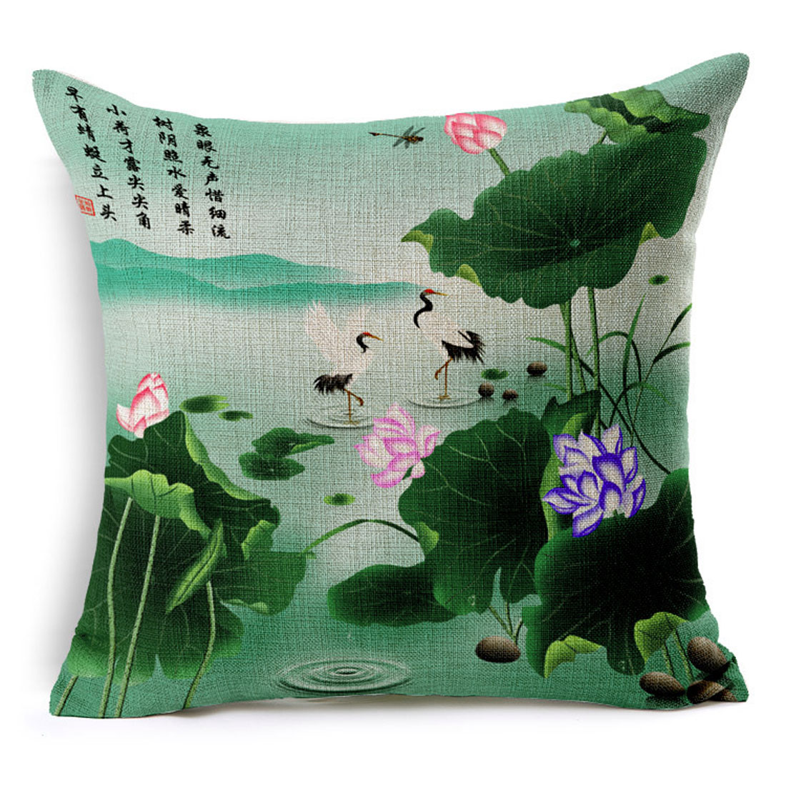 Sofa Cotton Linen Lotus Crpowerfule Pattern Waist Throw Cushion Cover Pillow Case