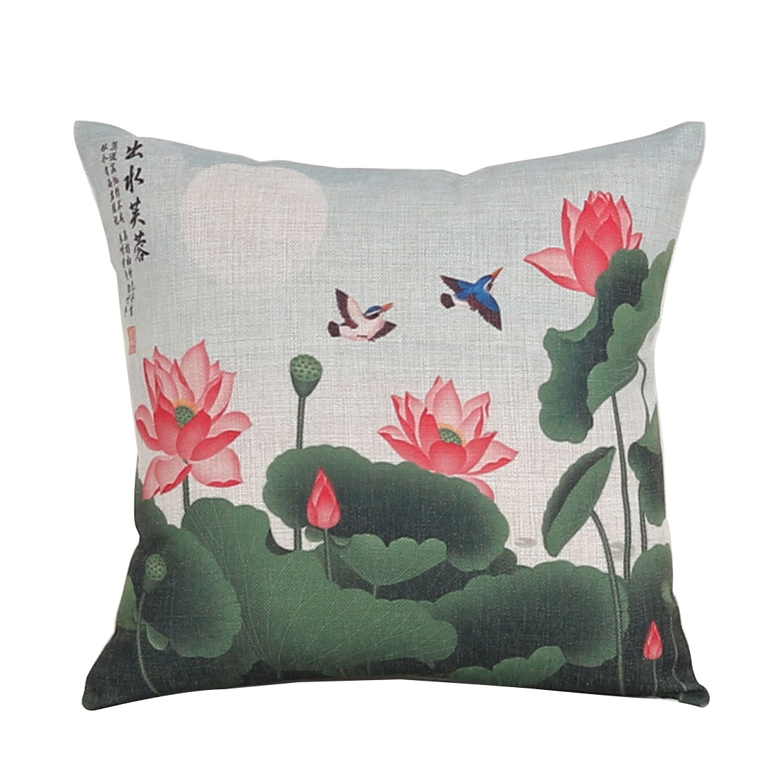 Household Sofa Cotton Linen Lotus Bird Pattern Waist Throw Cushion Cover Pillow Case