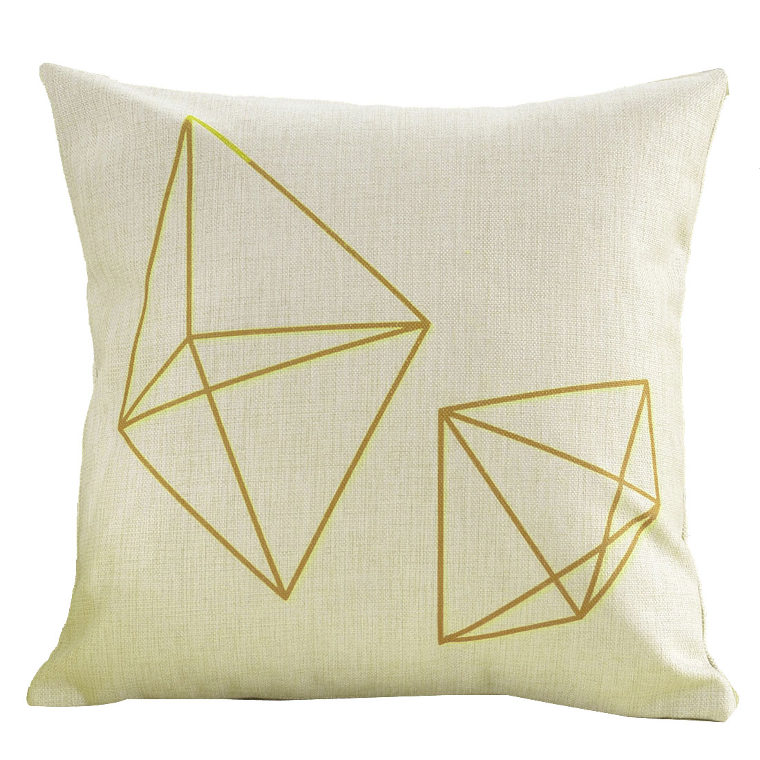Sofa Cotton Linen Polygon Pattern Square Design Waist Throw Cushion Pillow Cover
