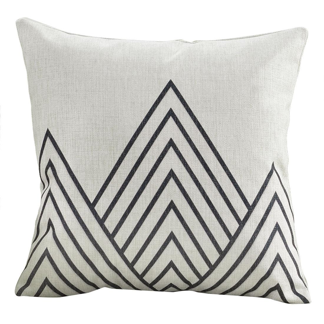 Sofa Cotton Linen Mountain Pattern Square Design Waist Throw Cushion Pillow Cover