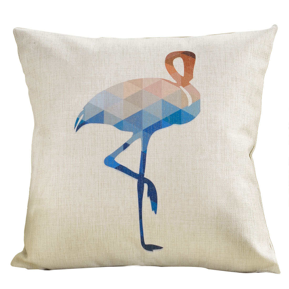 Sofa Cotton Linen Ostrich Pattern Square Design Waist Throw Cushion Pillow Cover