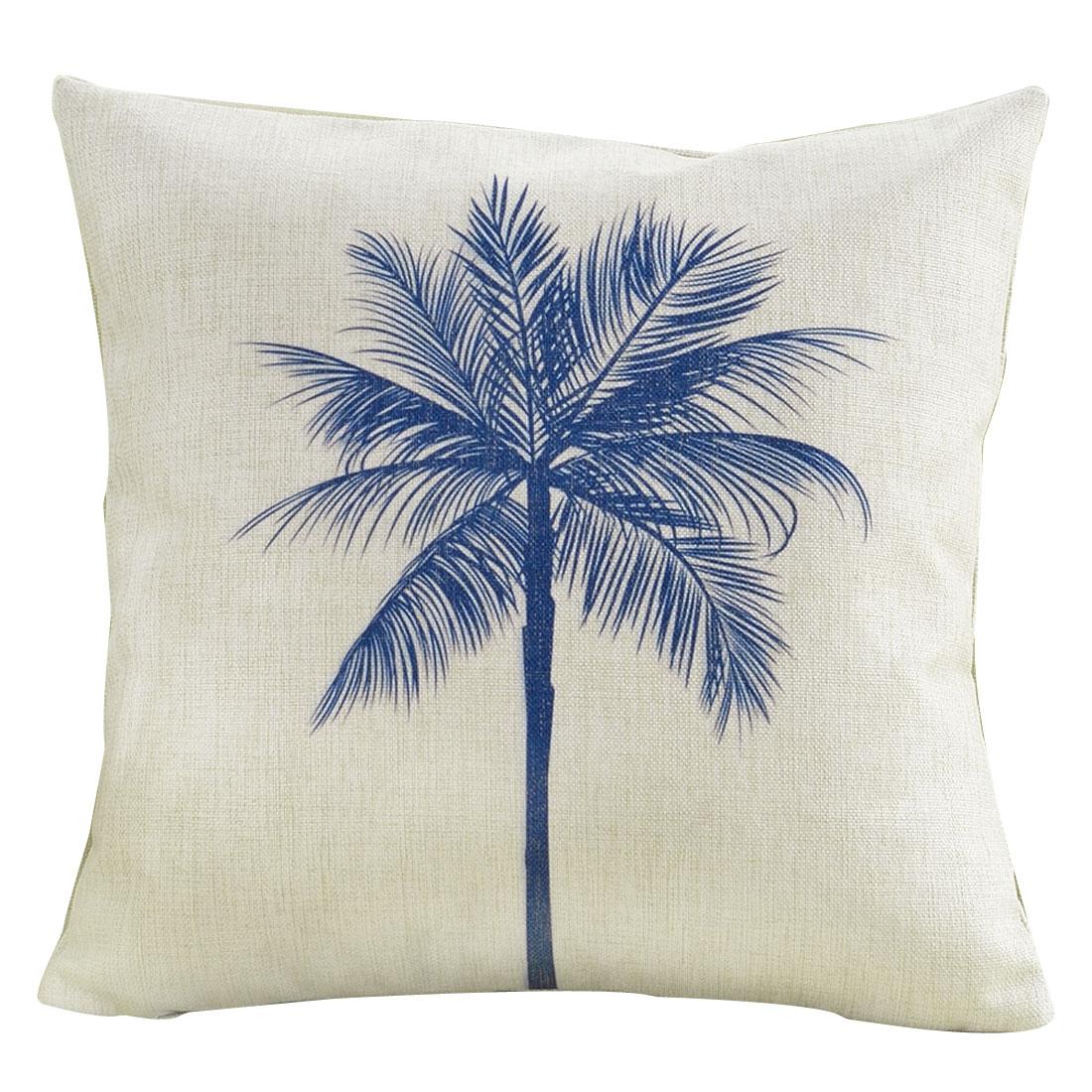 Sofa Cotton Linen Coconut Palm Pattern Square Design Waist Throw Cushion Pillow Cover