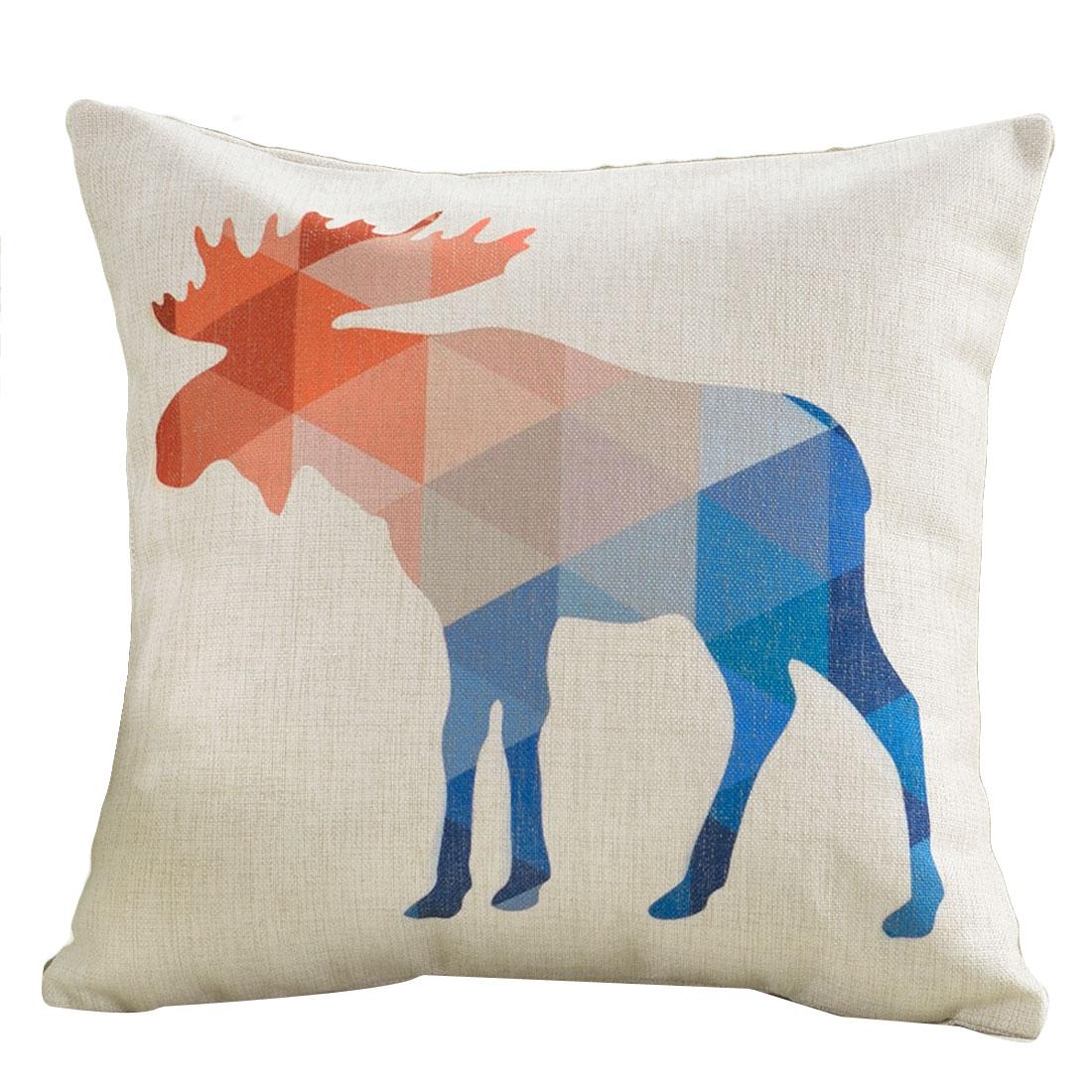 Sofa Cotton Linen Deer Pattern Square Design Waist Throw Cushion Pillow Cover