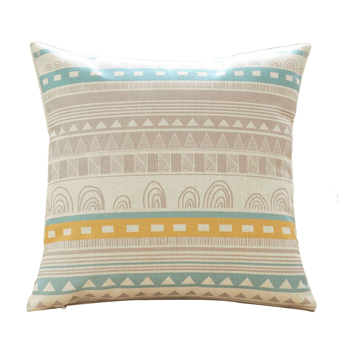 Sofa Cotton Linen Geometric Pattern Single Side Retro Style Cushion Pillow Cover