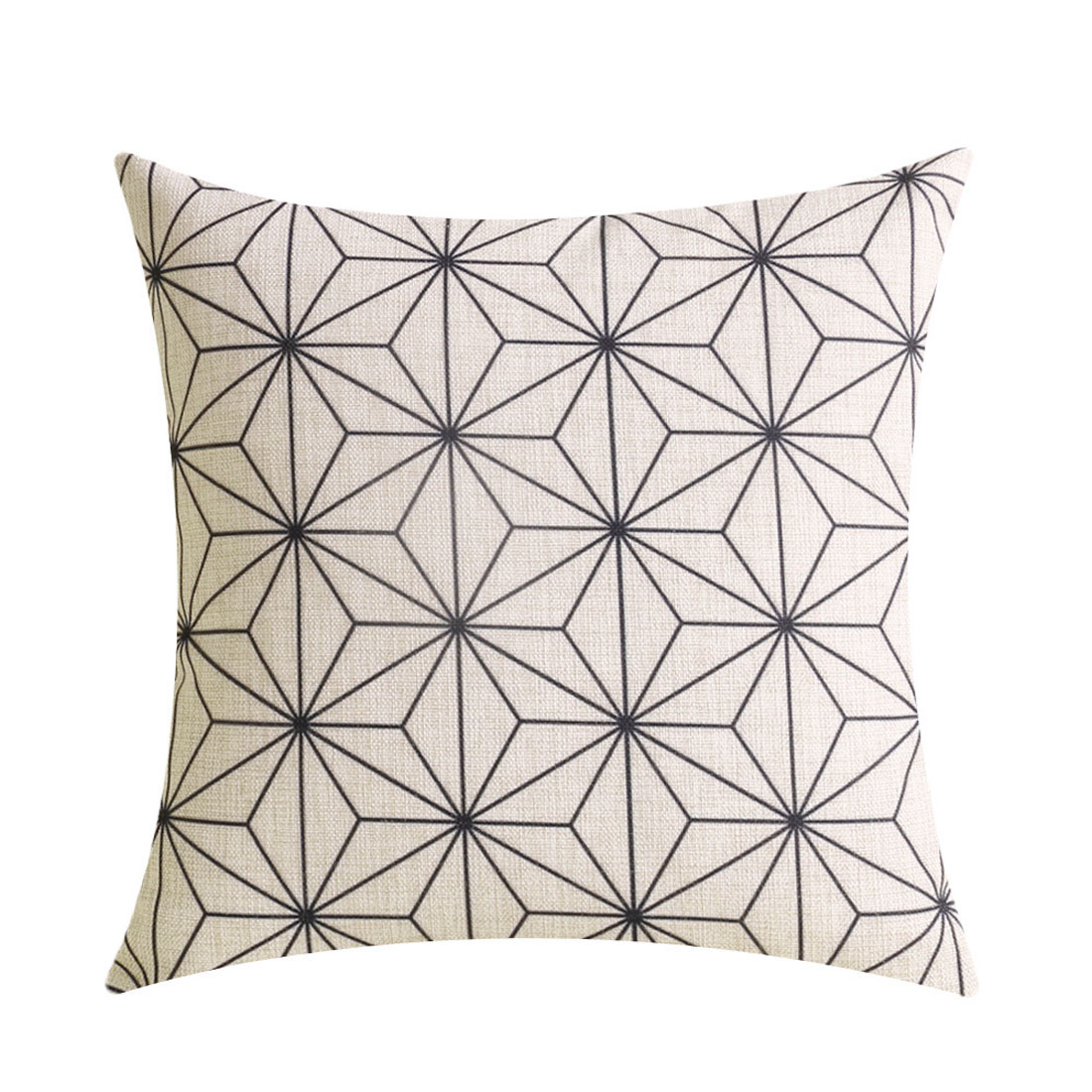Sofa Cotton Linen Geometric Pattern Square Design Waist Throw Cushion Cover Pillow Case