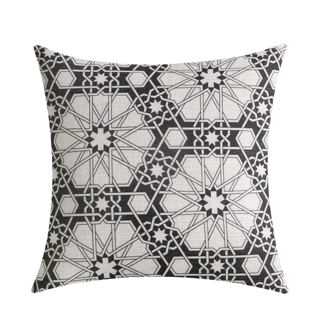 Car Seat Sofa Cotton Linen Geometric Pattern Waist Throw Cushion Cover Pillow Case