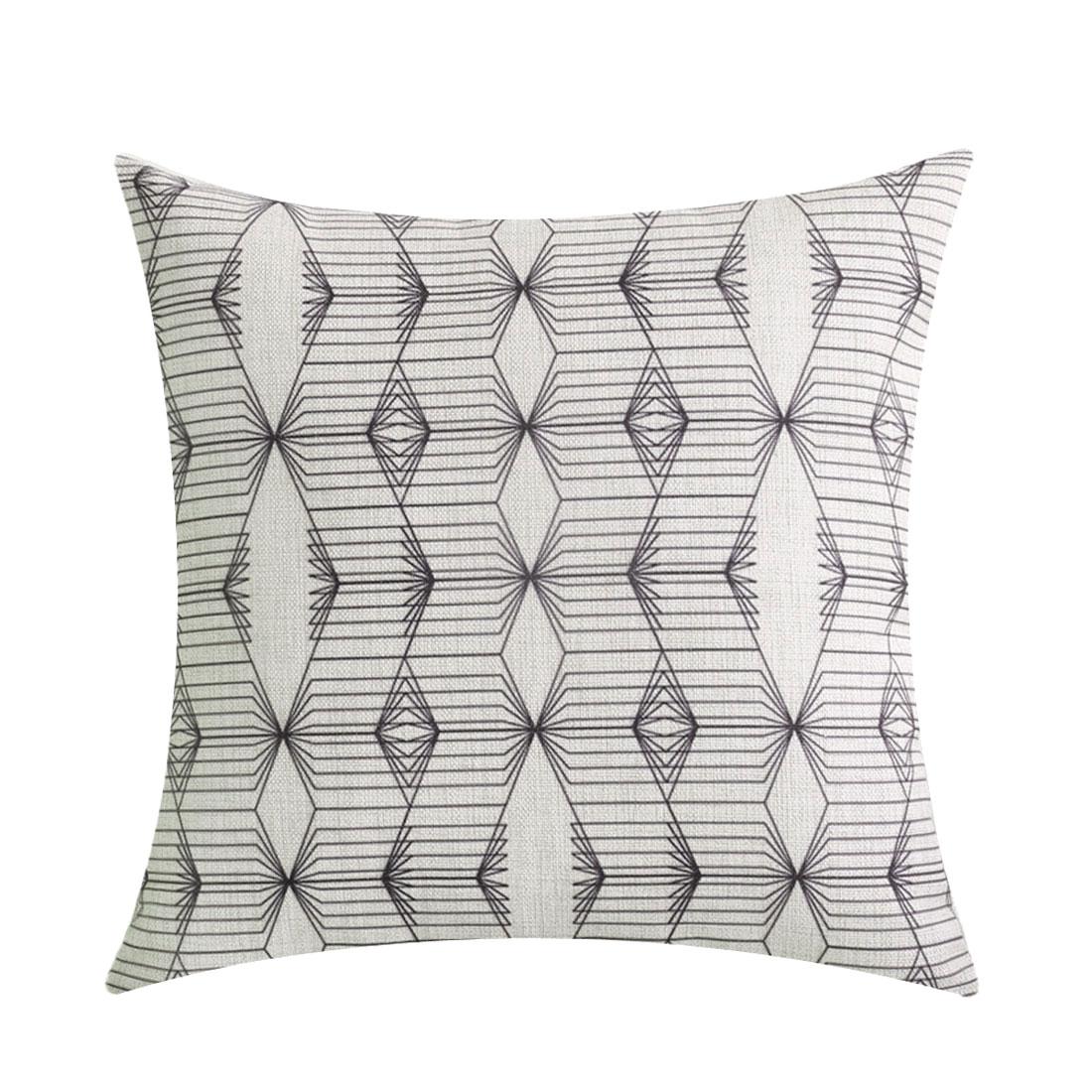 Sofa Cotton Linen Geometric Pattern Square Design Waist Back Cushion Cover Pillow Case