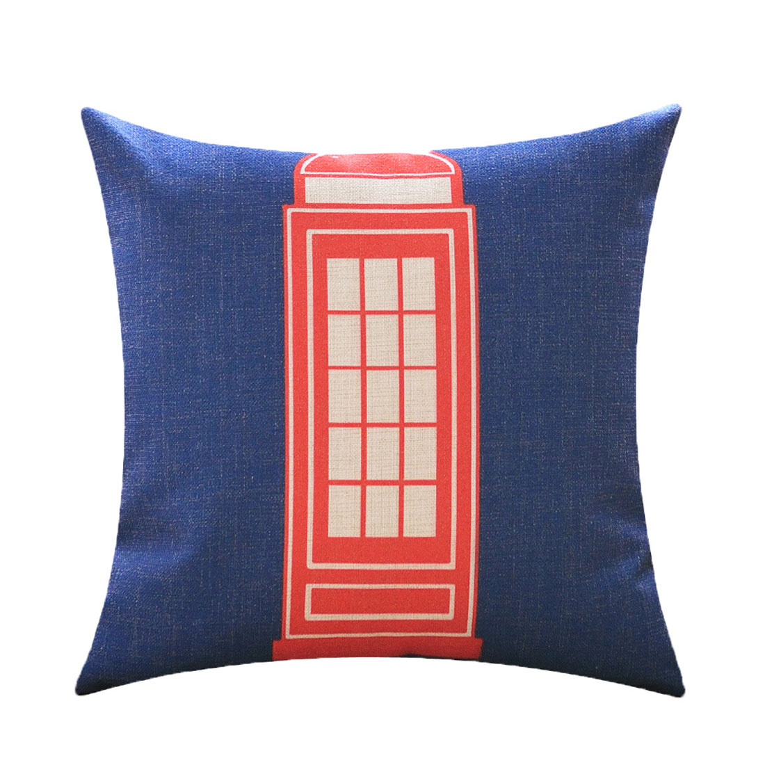 Sofa Cotton Linen English Telephone Booth Pattern Waist Throw Cushion Cover Pillow Case