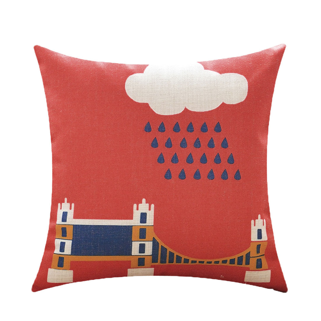 Sofa Cotton Linen London Tower Bridge Pattern Waist Throw Cushion Cover Pillow Case
