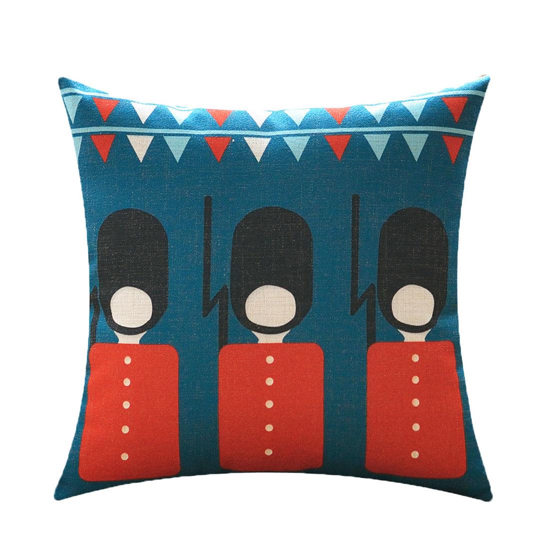 Sofa Cotton Linen English Telephone Booth Pattern Waist Throw Cushion Cover Pillow Case
