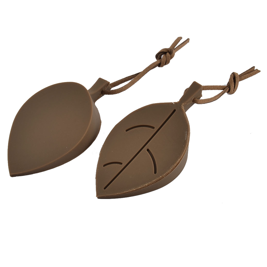 Home Office Leaf Style Silicone Finger Guard Wedge Door Stopper Coffee Color 2pcs