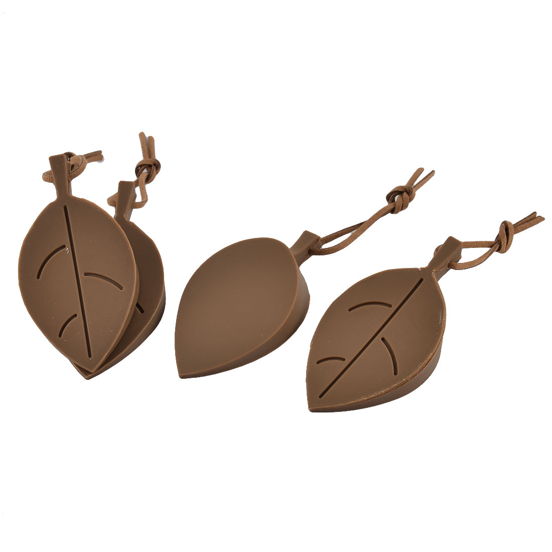 Home Office Leaf Style Silicone Finger Safety Protect Door Stopper Coffee Color 4pcs