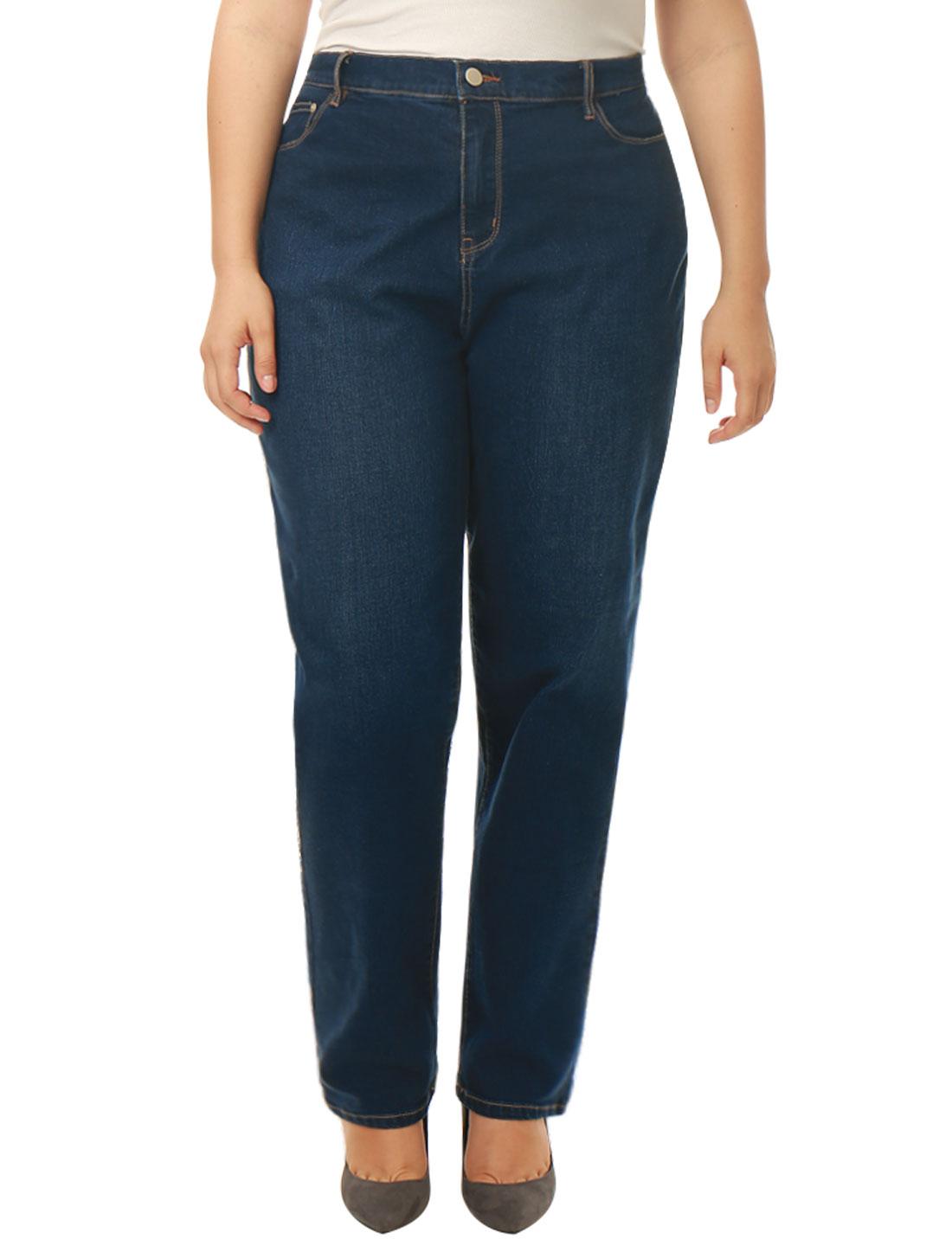 Women Plus Size Mid Rise Stretch Straight Leg Jeans Blue 2X