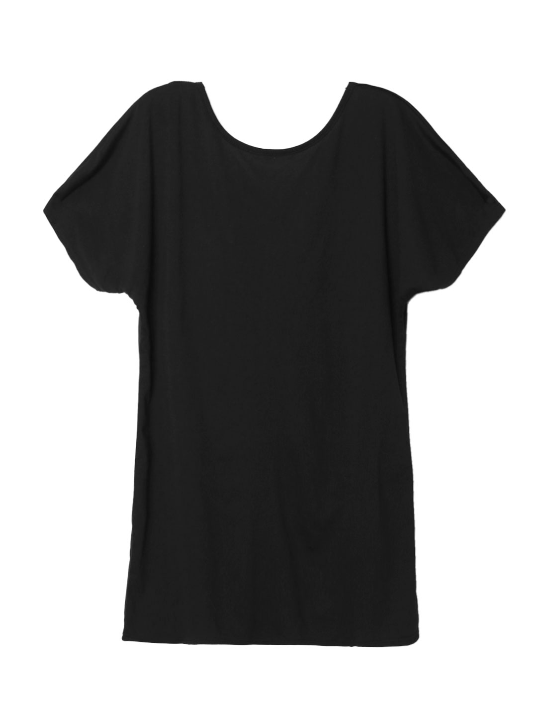 Women Batwing Sleeves Strappy Hollow Out Back Tee Dress Black M