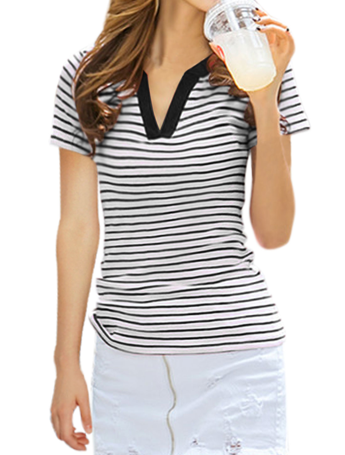 Women Short Sleeves Split Neck Stripes Casual T-Shirt Black XS