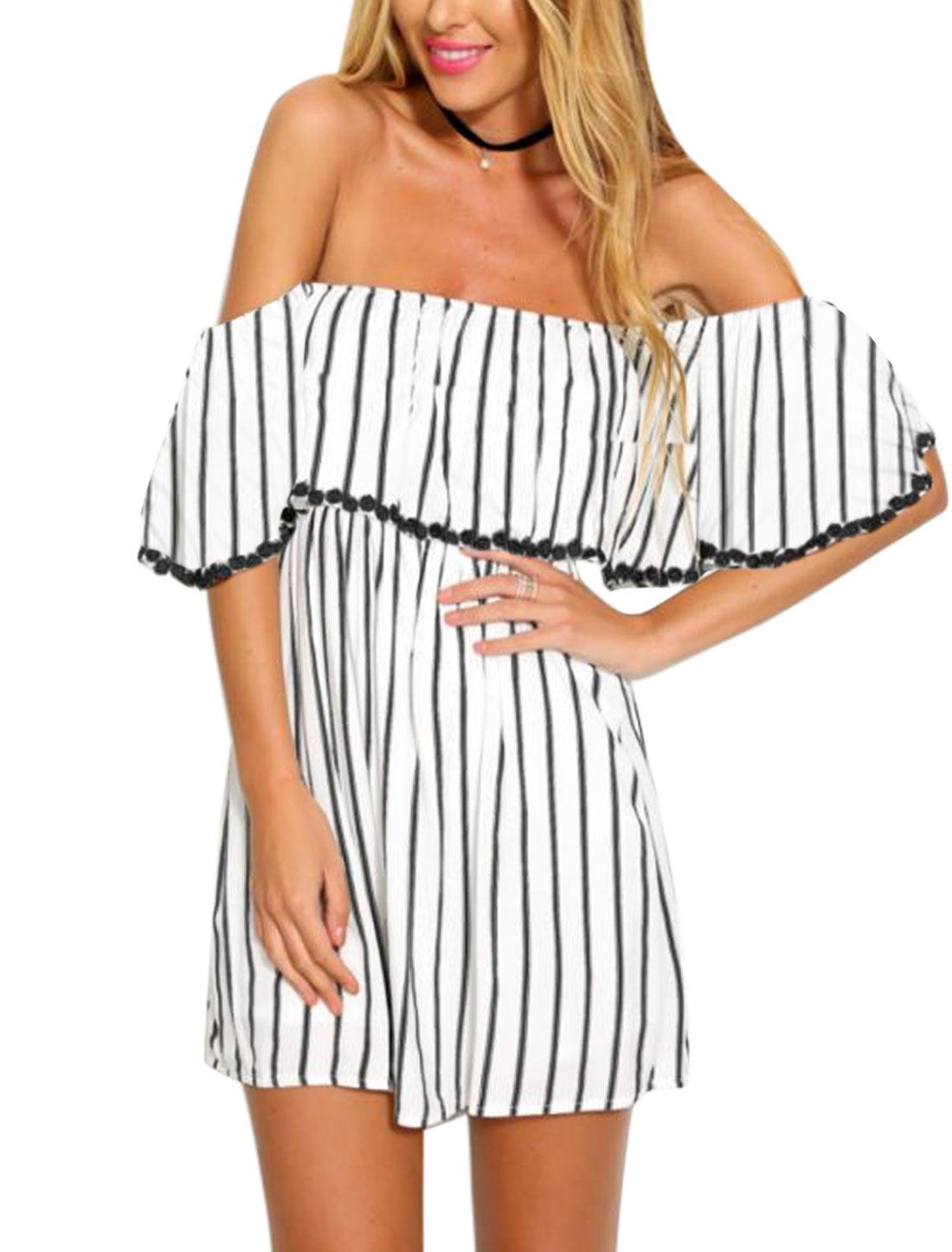 Women Off Shoulder Stripes Flouncing Upper Smock Waist Mini Dress White S