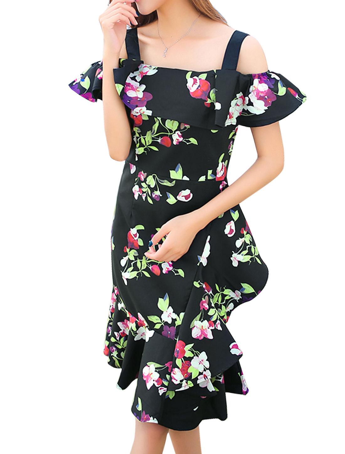 Women Straps Cut Out Shoulder Floral Print Flouncing Sheath Dress Black S