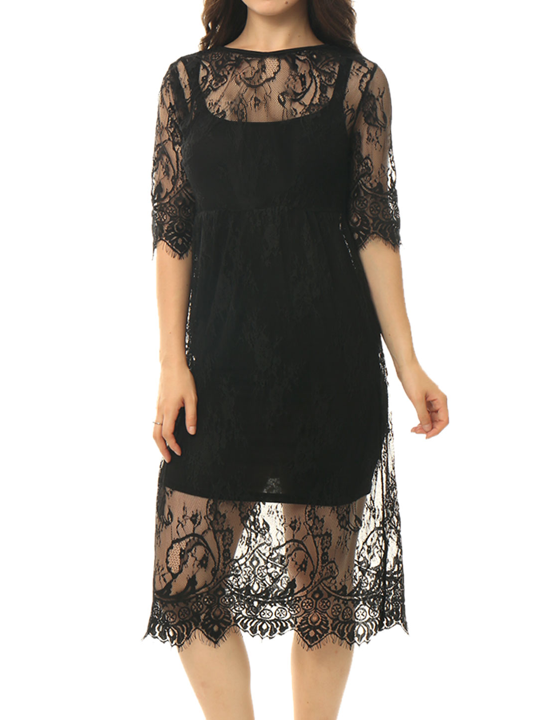 Women Split Back Scalloped Cover-Up Lace Tunic Dress Black S