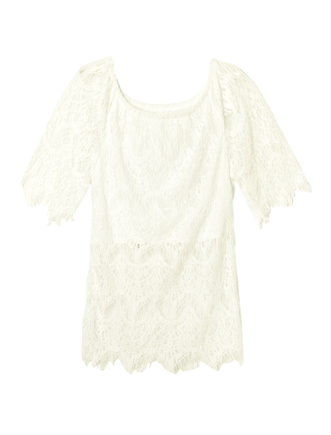 Women Half Sleeves Off Shoulder Hollow Out Lace Top White S