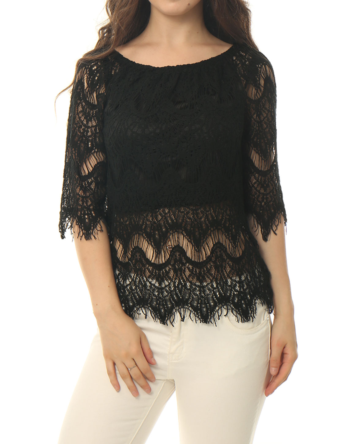 Women Half Sleeves Off Shoulder Hollow Out Lace Top Black S