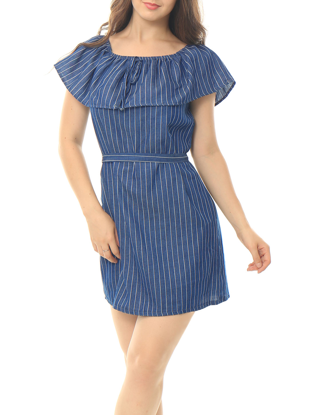 Women Stripes Flouncing Upper Waist String Dress Blue S