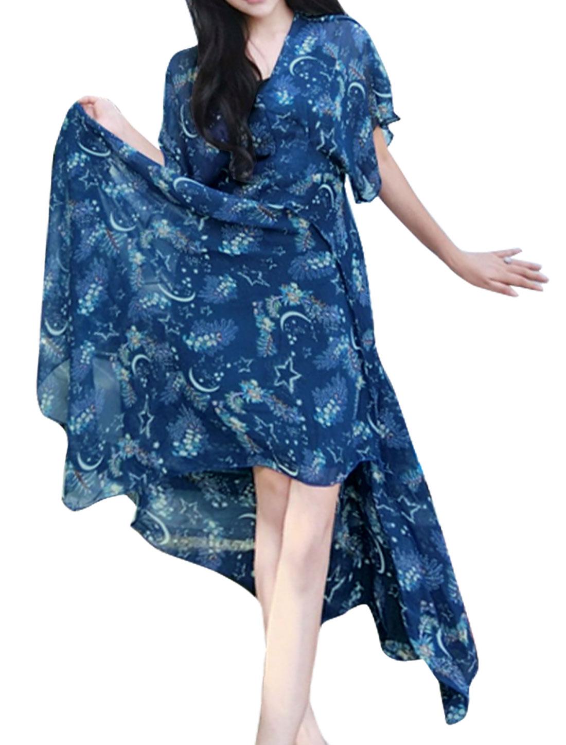 Women Asymmetric Hem Flower Stars Print Chiffon Maxi Dress Blue XS