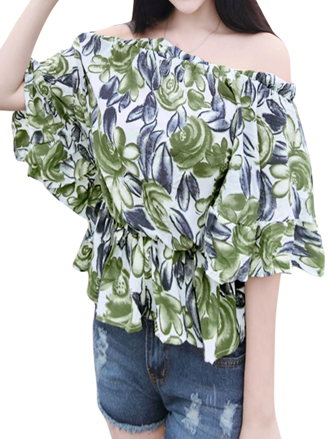 Women Off the Shoulder Floral Prints Batwing Sleeves Top Green XS