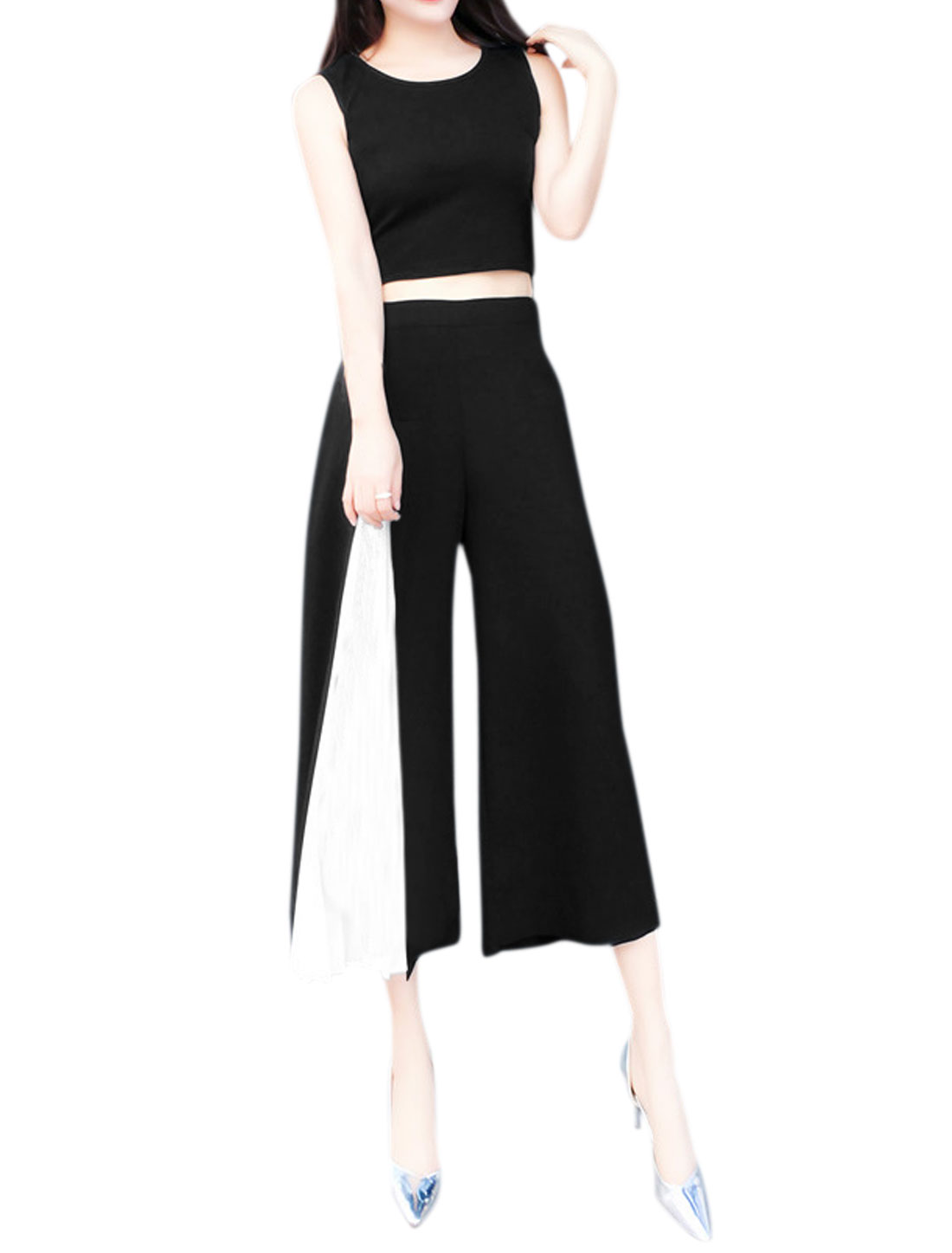 Women Contrast Color Pleated Panel Wide Legs Cropped Pants Black S