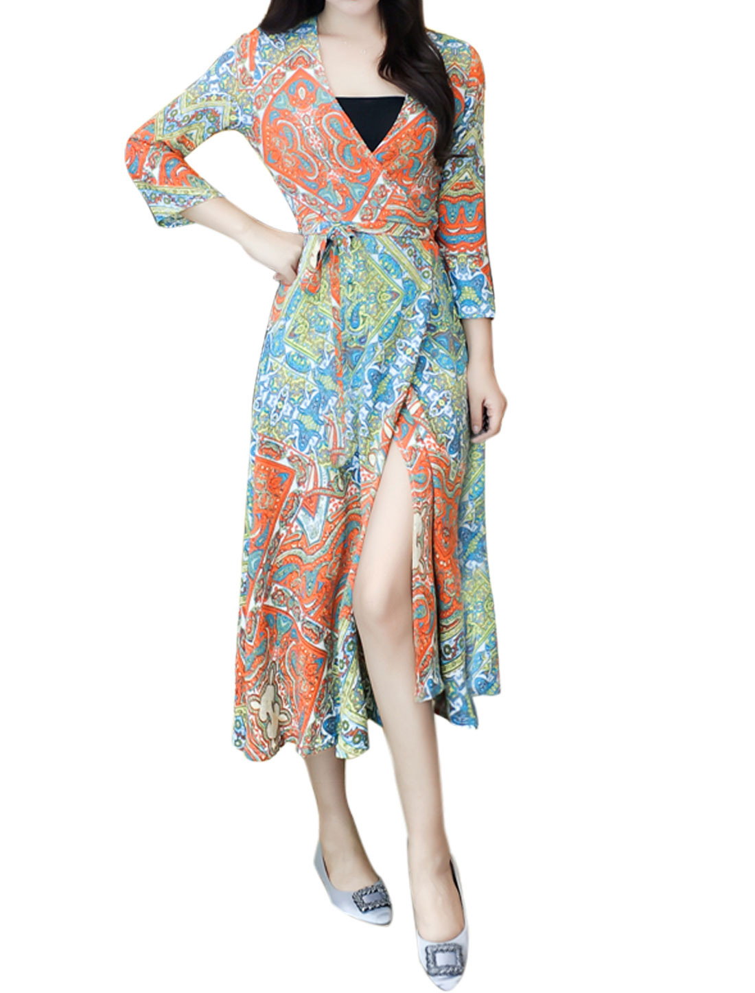 Women 3/4 Sleeves Paisleys Novelty Prints Mid-Calf Wrap Dress Yellow XS