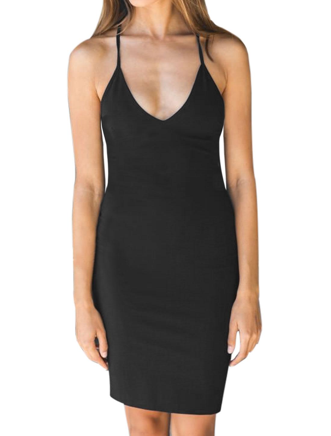 Women Deep V Neck Sleeveless Self Tie Strappy Back Sheath Dress Black XS